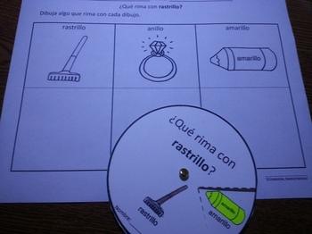 Spanish Rimas Circle with -ILLO and Drawing activity