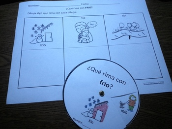 Spanish Rimas Circle with -IO and Drawing activity c-scope common core