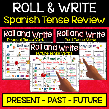 Spanish Roll & Write Bundle:  Present & Past Tense Verb Activities