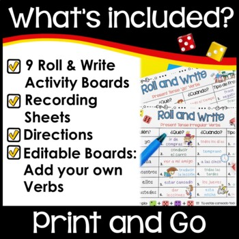 Spanish Back to School Activities Roll and Write