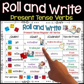 Spanish Present Tense Verb Activities Roll and Write