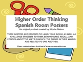 Spanish Room Labels / Posters plus Higher Order Thinking Q