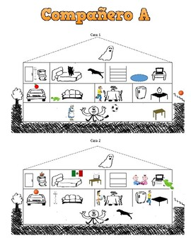 Spanish Rooms in a House Speaking / Drawing Activity