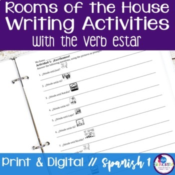 Spanish Rooms of the House with Estar Writing Activities