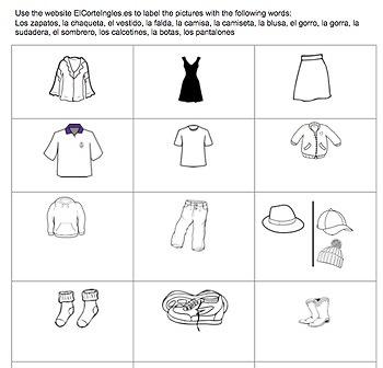 Spanish Ropa Webquest (Editabale)