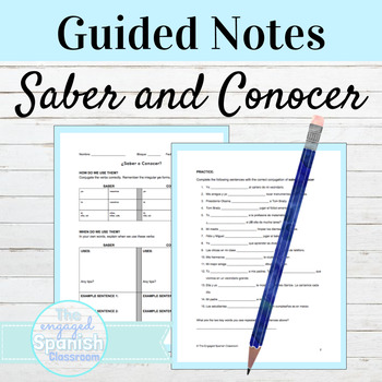 Spanish SABER v CONOCER: Guided Notes and Practice