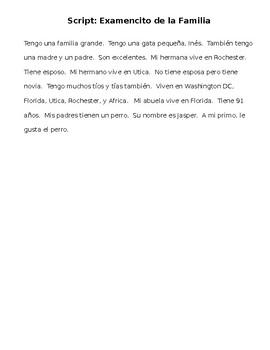Spanish SCRIPT Family Quiz