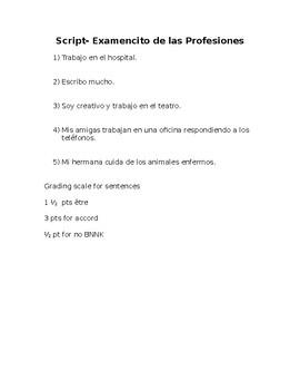 Spanish- SCRIPT Profession Quiz