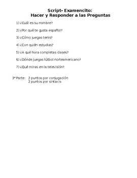 Spanish- SCRIPT for Interrogative Quiz
