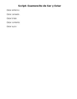 Spanish- SCRIPT for Quiz on SER vs ESTAR (HEEL DOTS)