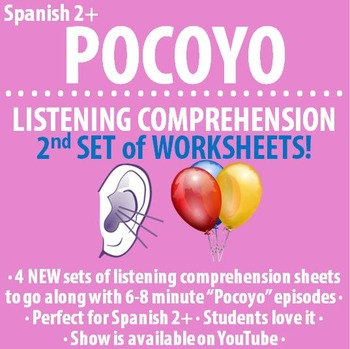 """Spanish - SECOND Set of FOUR """"Pocoyo"""" 7 minute video guides"""