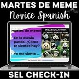 Spanish SEL check-in on a scale - Para Empezar martes de meme Google Slides