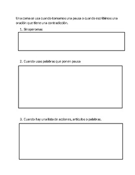 Spanish STAAR 4th Grade Commas