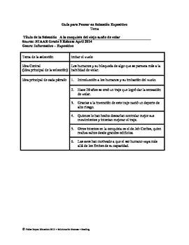 Spanish STAAR Analysis & Activities: A la conquista del viejo sueño de volar, G5