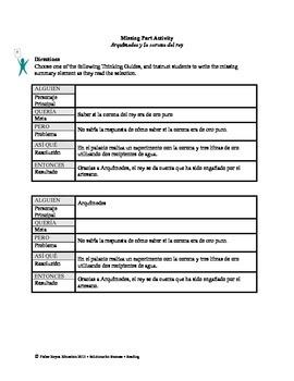 Spanish STAAR Analysis & Activities: Arquímedes y la corona del rey, Grade 5