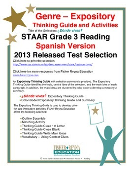 Spanish STAAR Analysis & Activities: ¿Dónde vives?, Grade 3