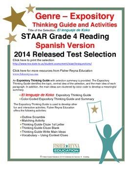 Spanish STAAR Analysis & Activities: El lenguaje de Koko, Grade 4