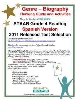 Spanish STAAR Analysis & Activities: Jesse Owens, Grade 4