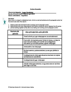 Spanish STAAR Analysis & Activities: Juegos Fantásticos, Grade 5