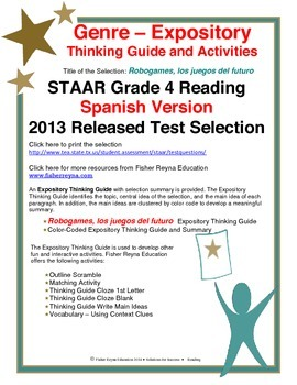 Spanish STAAR Analysis & Activities: Robogames, los juegos del futuro, Grade 4