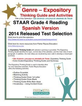 Spanish STAAR Analysis & Activities:San Antonio una joya en elestado de Texas G4
