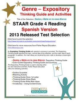 Spanish STAAR Analysis & Activities: Sasha y Malia en la casa Blanca, Grade 4
