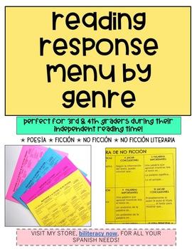 Spanish STAAR Reading Response MENU by Genre