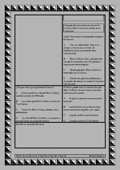 Spanish STAAR Reading passage: Biografía: Marc Anthony