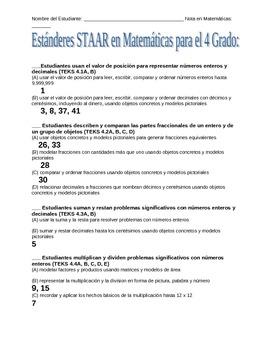 Spanish STAAR Standards Checklist - Fourth Grade Math Texas