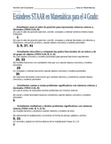 Spanish STAAR Standards Checklist - Fourth Grade Math Texas