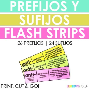 Spanish STAAR Vocabulary Prefixes and Suffixes 40+ Flash Cards