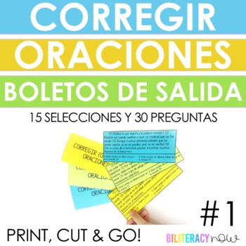 Spanish STAAR Writing Editing Exit Tickets - 15 Mini Passages + 30 Questions #1