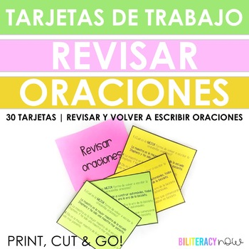 Spanish STAAR Writing REVISING (rewriting) Sentence 30 Task Cards!