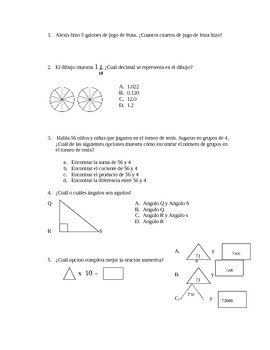 Spanish STAAR practice questions 4th grade
