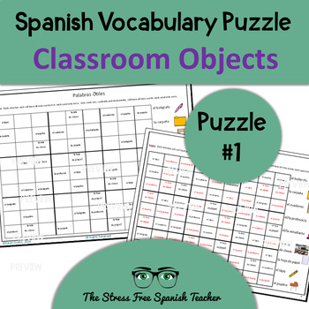 Spanish Beginner Vocabulary Puzzle, Classsroom Objects #1