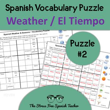 Spanish SUDOKU / Wordoku: Weather & Seasons (Tiempo, Clima