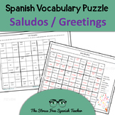 Spanish Puzzle of Saludos / Greetings Vocabulary