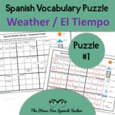 Spanish WEATHER vocabulary PUZZLE!  El tiempo / El Clima