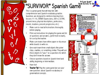 "Spanish ""SURVIVOR"" Vocabulary & Grammar Game!"
