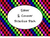 Spanish Saber & Conocer Worksheets Practice Pack