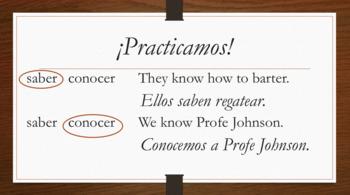 Spanish Saber Conocer notes