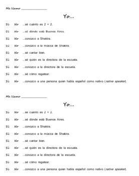 Spanish Saber/Conocer warm-up activities