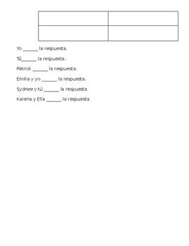 Spanish Saber/Poner/Ver Student Note Sheet