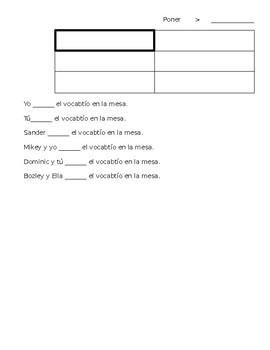 Spanish Saber/Poner/Ver Student Note Sheet