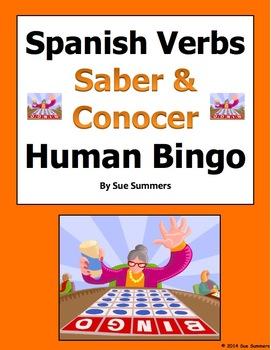 Spanish Saber and Conocer Human Bingo Game Speaking Activity