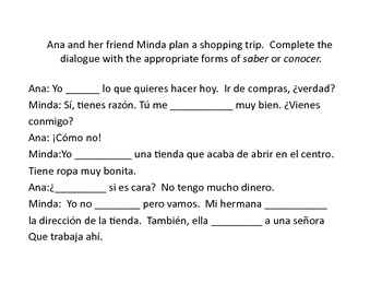 Spanish Saber y Conocer Presentation and Activities