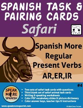 Spanish Safari Task and Pairing Cards #4 *Más Verbos Regul