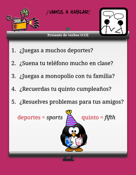 Spanish - Safari Student Pairing Cards * More Stem Changing Verbs O>UE *Verbos