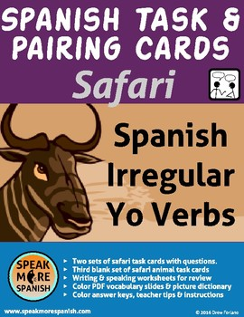 Safari Spanish Task and Pairing Cards. Presente Verbos Irregulares forma de Yo