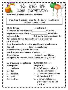 Spanish St. Patrick's day activities. San Patricio